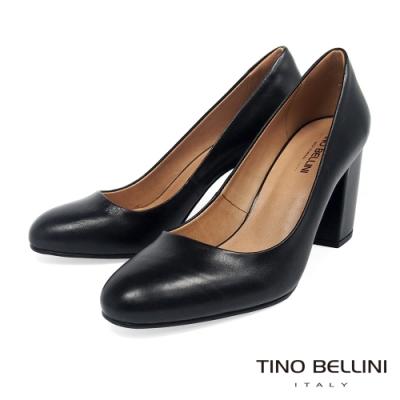 Tino Bellini 巴西進口素雅氣質圓頭粗跟鞋-黑