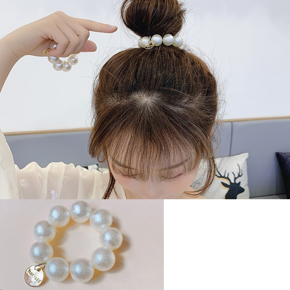 Hera 赫拉 時尚摩砂棉花珍珠造型髮圈/手圈