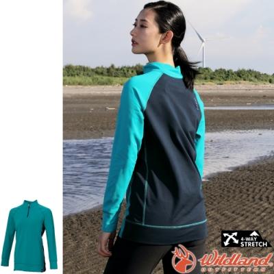 Wildland 荒野 0A72603-67湖水綠 女彈性長版立領保暖上衣