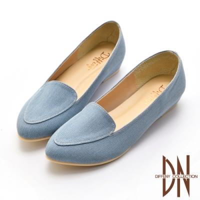DN休閒鞋_極簡風素面壓紋休閒鞋-藍