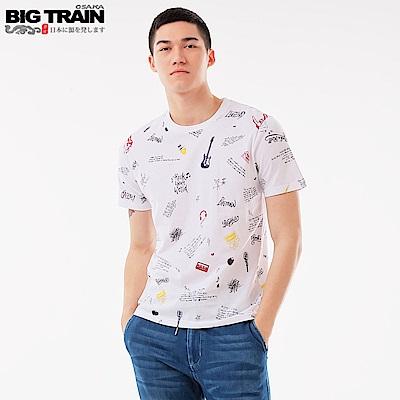 BigTrain 潮流滿版印花圓領T-男-白色