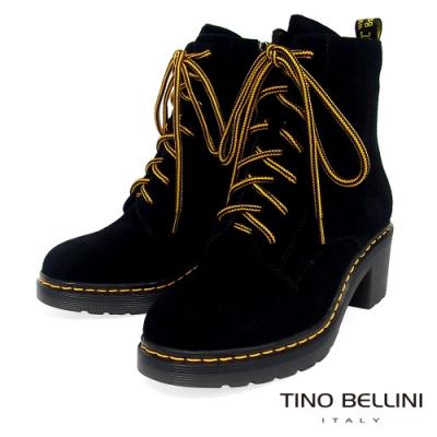 Tino Bellini 帥氣直爽綁帶厚底中跟短靴_黑