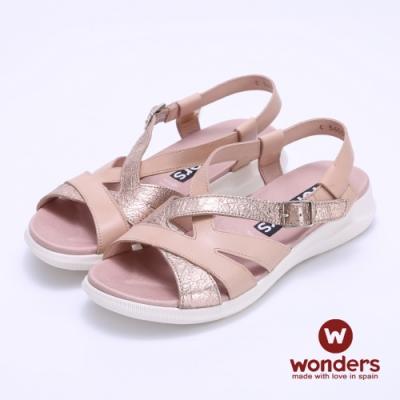 WONDERS西班牙進口 雙色拼接平底後帶涼拖鞋-玫瑰金