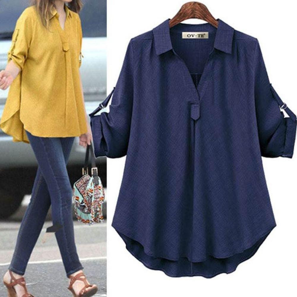 MOCOV字襯衫領雙色面料下擺寬鬆袖可反釦前短後長遮肚襯衫L~4XL