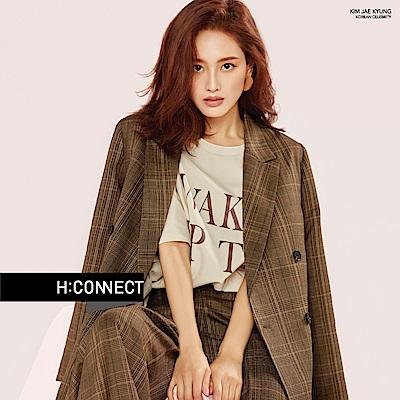 H:CONNECT 韓國品牌 女裝-微寬鬆印字短T-卡其
