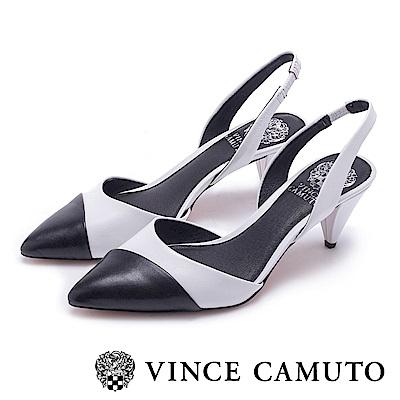 VINCE CAMUTO 簡約撞色尖頭低跟鞋-白色