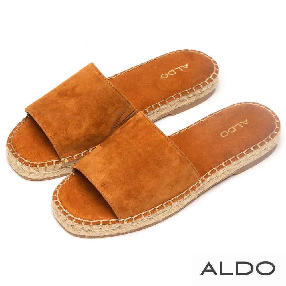 ALDO 原色寬版羊皮鞋面麻花編織底拖鞋~質感焦糖