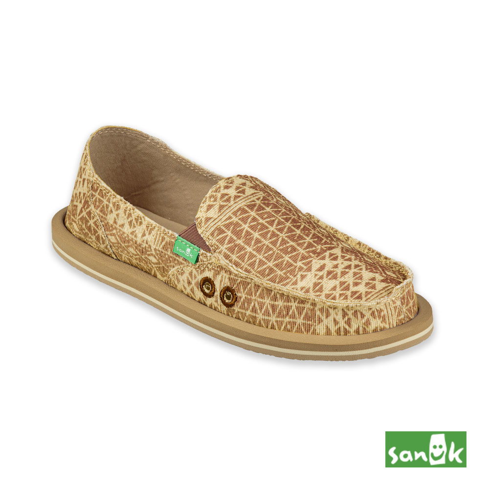 SANUK-DONNA OJAI FOLK 格紋造型懶人鞋-女款(淺棕色)1094453 BRN