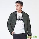 bossini男裝-連帽彈性無縫羽絨外套軍綠