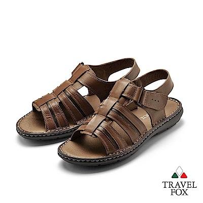 TRAVEL FOX(男) 想念的自在 高足弓牛皮舒適透氣休閒涼鞋- 暢快咖