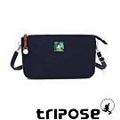 tripose漫遊系列岩紋x微皺尼龍斜背皮夾包 深藍