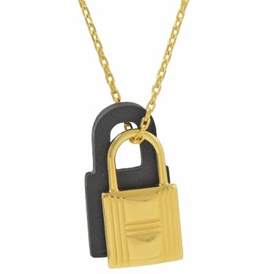 HERMES KELLY款鎖頭造型皮革項鍊(金/黑)