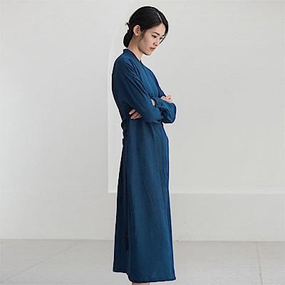 旅途原品_旅思_原創設計真絲羊毛繫帶襯衫裙-咖啡/黑