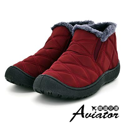 Aviator韓國空運-Paperplanes立體菱格防踢鋪毛情侶款雪鞋-紅