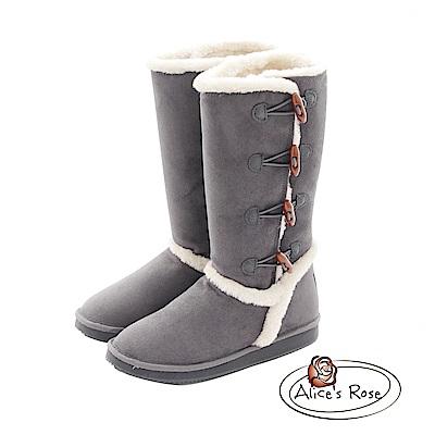Alices Rose 牛角扣裝飾長筒雪靴-灰色