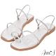 Ann'S網紅都想要的升級兩穿編織方頭平底涼鞋-銀(版型偏小) product thumbnail 1
