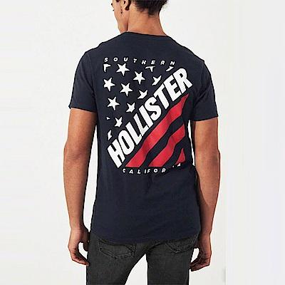 HCO Hollister 海鷗 經典印刷文字國旗設計短袖T恤-深藍色