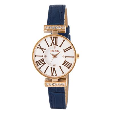 Folli Follie晶緻閃耀浪漫皮革腕錶-藍(WF15B028SSW-BL)