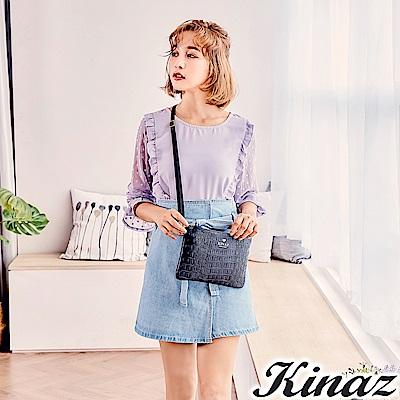 KINAZ 慵懶貓步兩用斜背包-煙燻深藍-模特兒系列