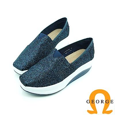 【GEORGE 喬治】舒適系列 V字彈力素面休閒鞋-深藍色