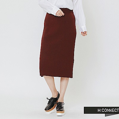 H:CONNECT 韓國品牌 女裝-側開岔針織中長裙-紅