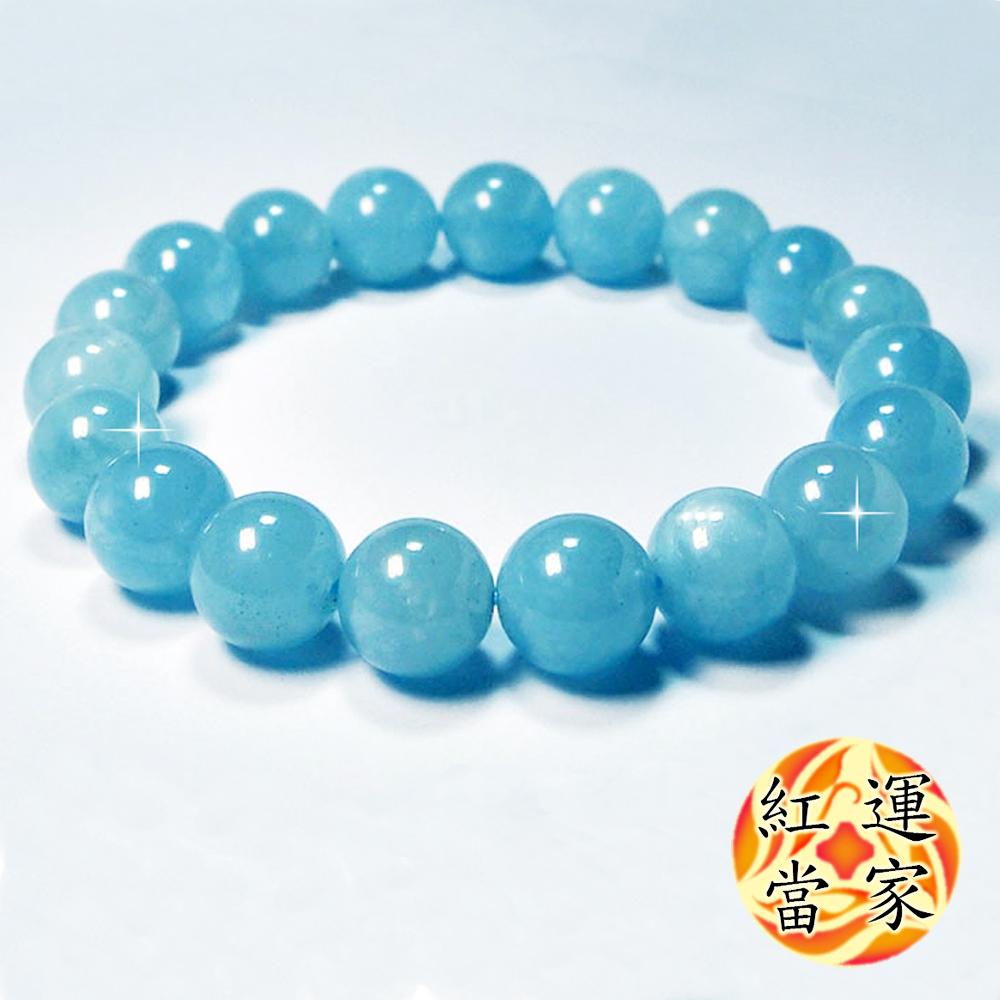 紅運當家 超稀有 巴西海藍寶 圓珠手鍊(直徑12mm)