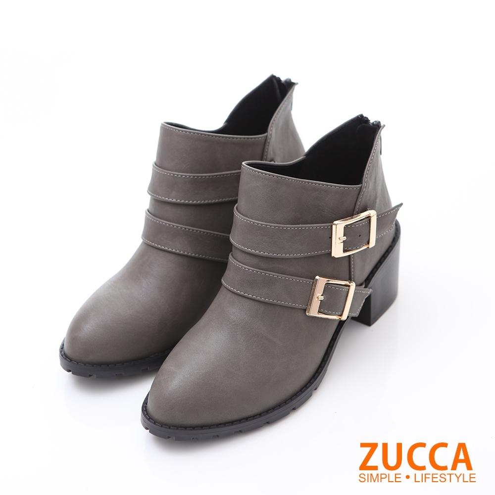 ZUCCA V雙釦飾皮革低跟短靴-綠色-z6234gn