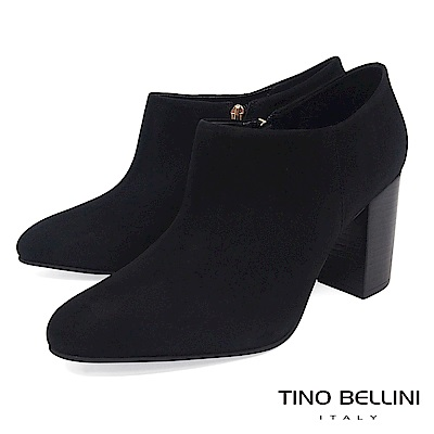 Tino Bellini 巴西進口純色極簡線條高跟踝靴 _ 黑
