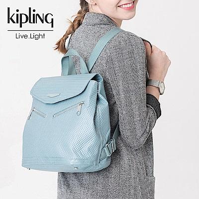 Kipling 後背包 雲彩淺藍素面-小