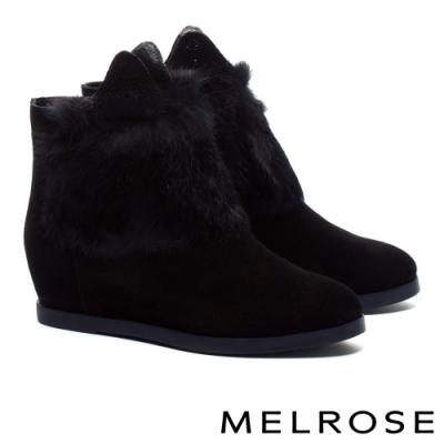 短靴 MELROSE 輕奢可愛晶鑽貓耳兔毛內增高短靴-黑