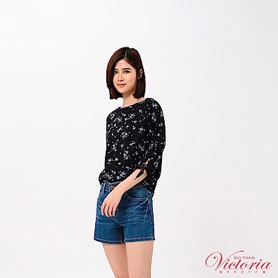 Victoria 袖口綁帶寬鬆落肩七分袖T-女-黑色