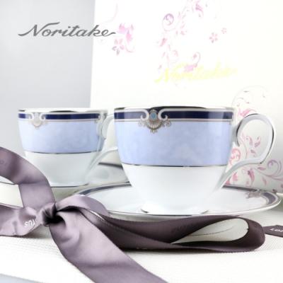 【Noritake 】巴別克銀邊咖啡對杯