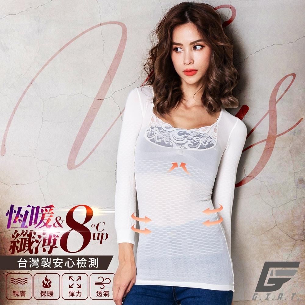 GIAT台灣製150D蕾絲美型機能保暖衣(簡約袖款)-純米白