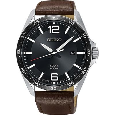 SEIKO精工 SOLAR 太陽能潮流手錶(SNE487P1)-黑x咖啡/42mm