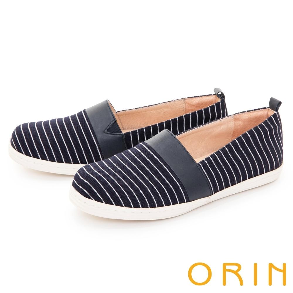 ORIN 質感條紋拼接平底 女 休閒鞋 藍色