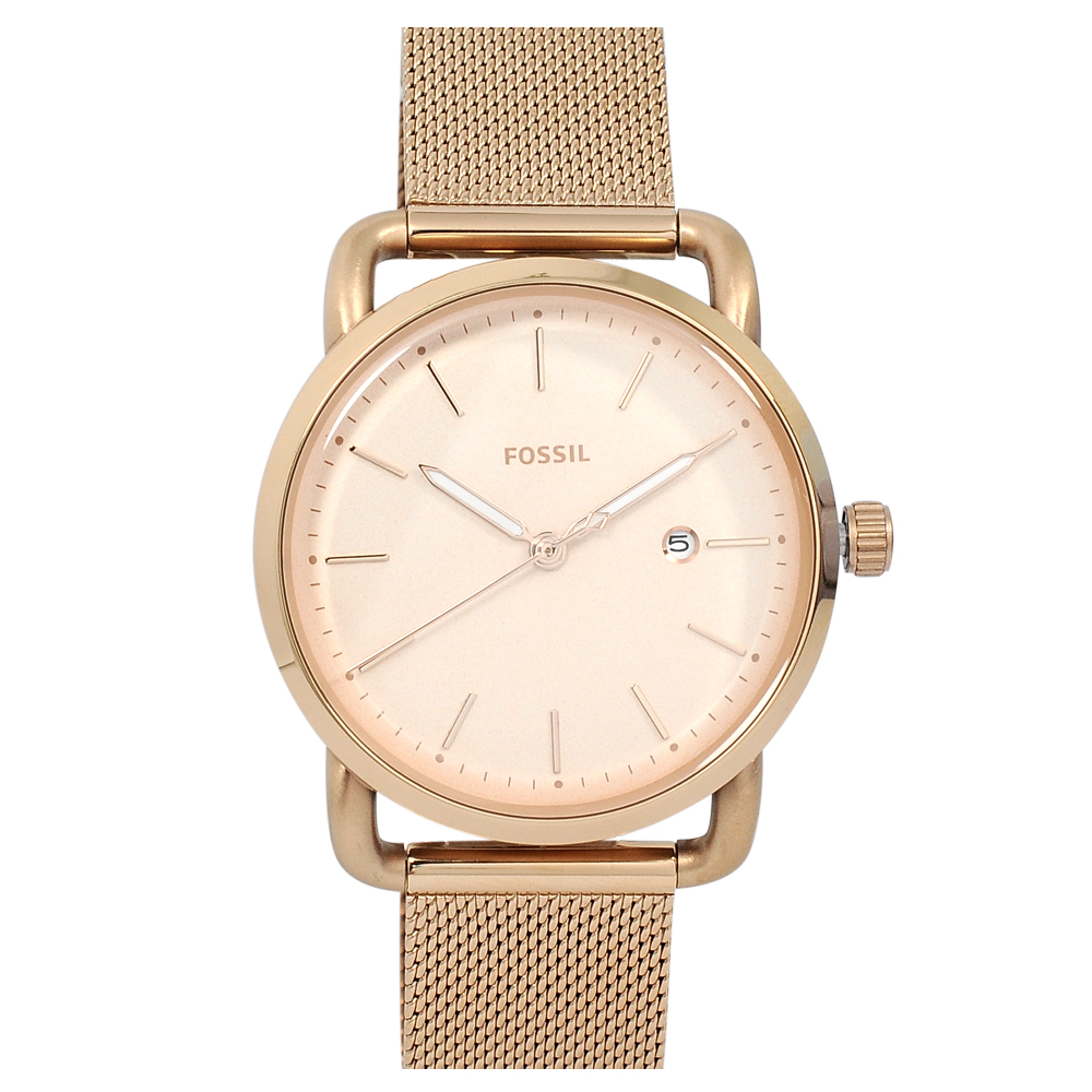 FOSSIL 美國精品手錶 COMMUTER日期顯示玫瑰金錶盤米蘭錶帶34mm