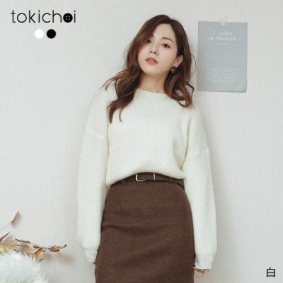 東京著衣 冬季戀歌圓領坑條磨毛上衣(共二色)