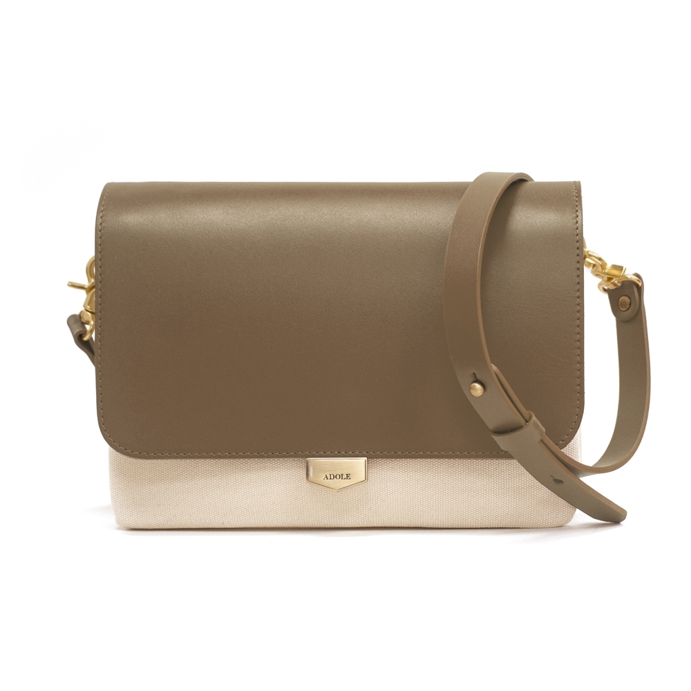 【IBAOBAO愛包包】ADOLE-ADay真皮袋蓋三層帆布包/米+摩卡