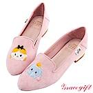 Disney collection by grace gift-造型絨布樂福鞋 粉