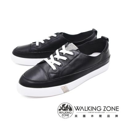 WALKING ZONE(女) 經典綁帶休閒鞋女鞋-黑(另有白)