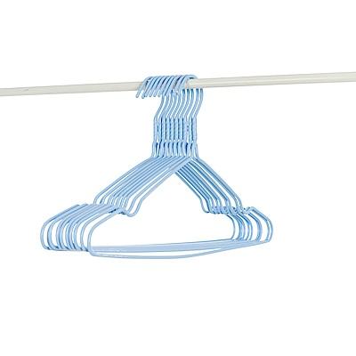 樂嫚妮 10入全浸塑防鏽防滑三角衣架-藍