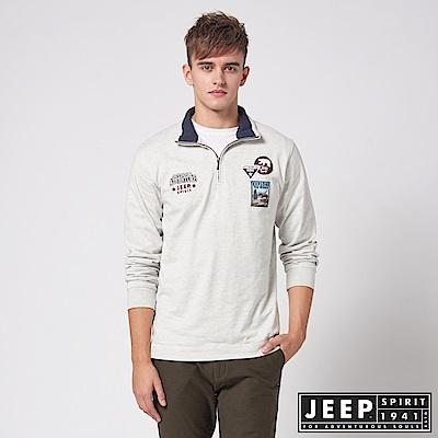 JEEP 探險世界拉鍊立領長袖POLO衫 -淺灰