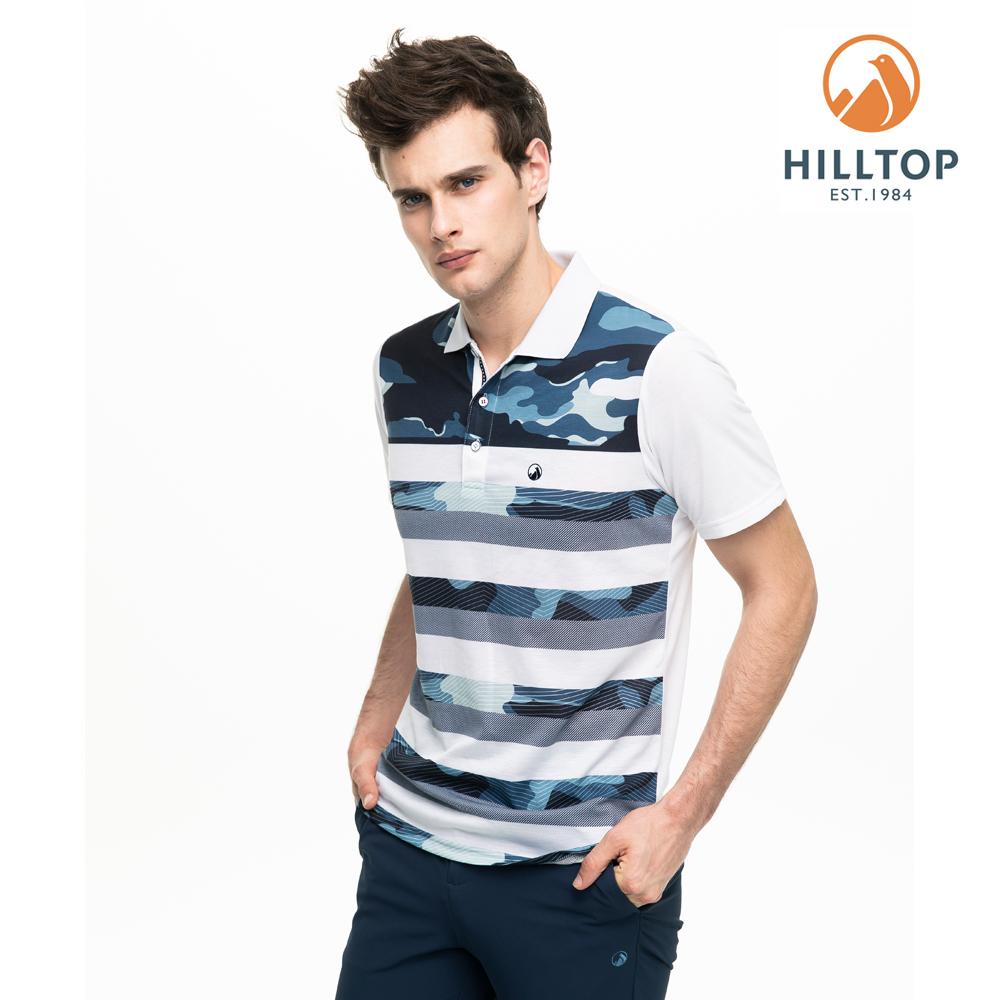 【hilltop山頂鳥】男款吸濕快乾抗菌彈性POLO衫S14MG7白印花