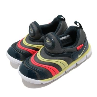 Nike 慢跑鞋 Dynamo Free 運動 童鞋 襪套 舒適 輕量 毛毛蟲 小童 球鞋 灰 黃 343938024