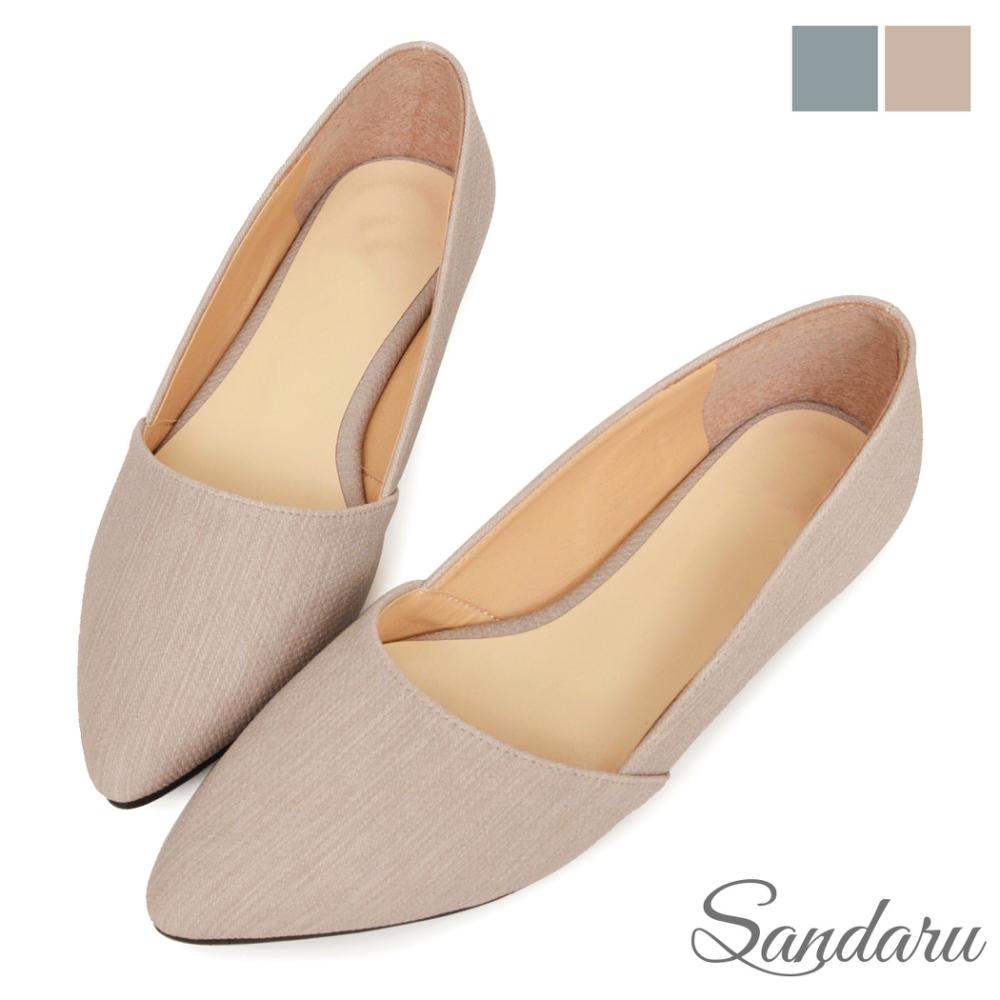 山打努SANDARU-尖頭鞋 簡約素面壓紋平底鞋-芋