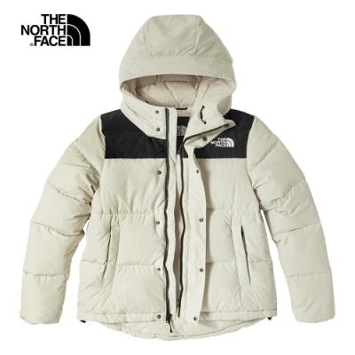 The North Face北面女款米色防風防潑水連帽羽絨外套 4NEZ11P