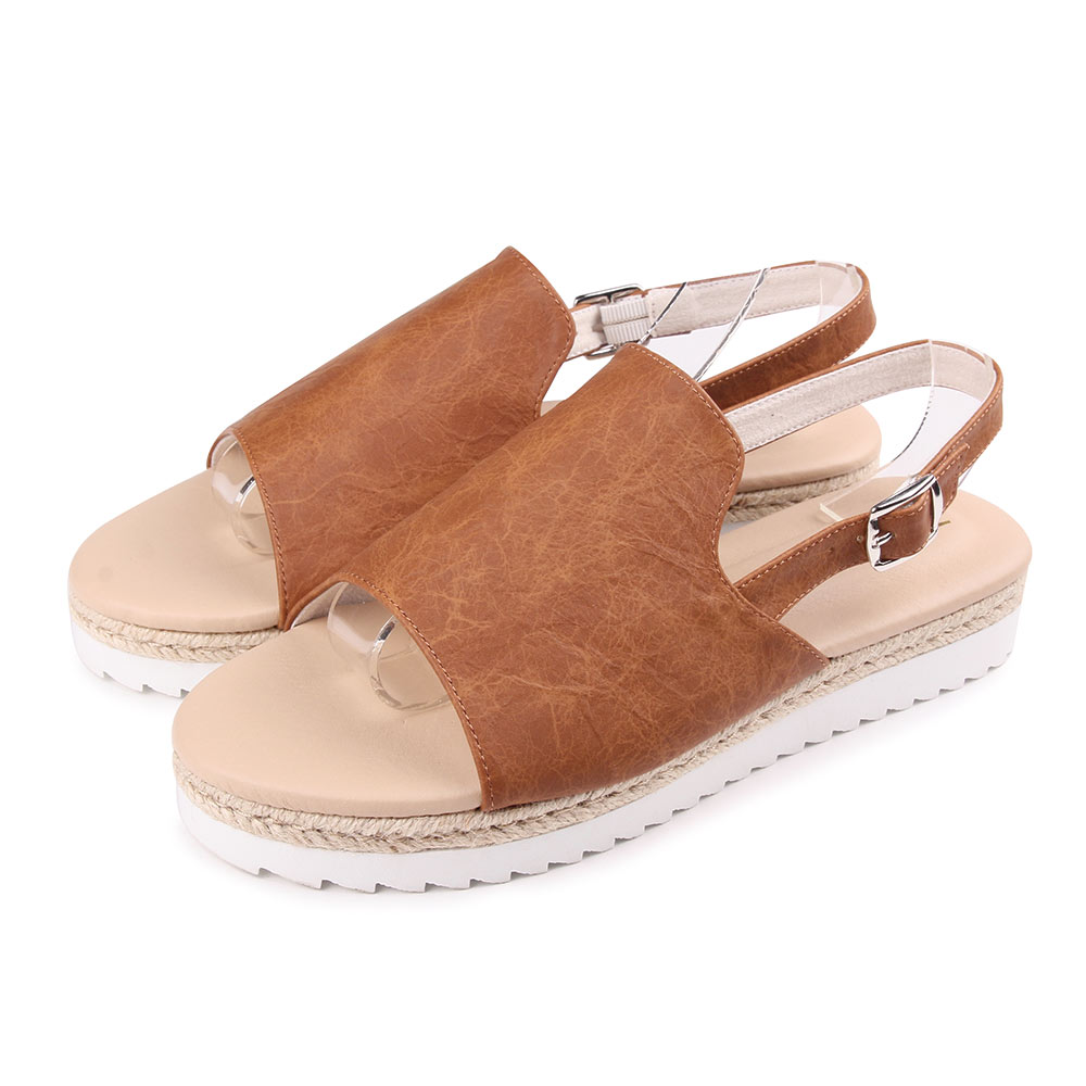 TTSNAP涼鞋-質揉簡約雙層厚底涼鞋 棕
