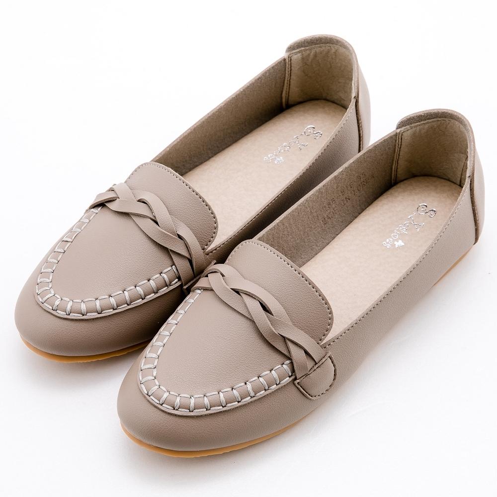 River&Moon韓版超軟編織小皮鞋樂福鞋 灰