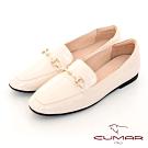 【CUMAR】極簡生活素面馬銜釦裝飾樂福平底鞋-米色