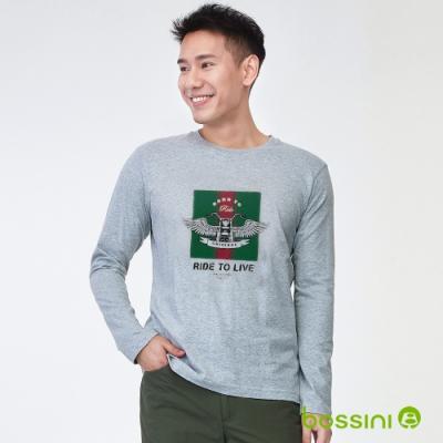 bossini男裝-印花長袖T恤03淺灰